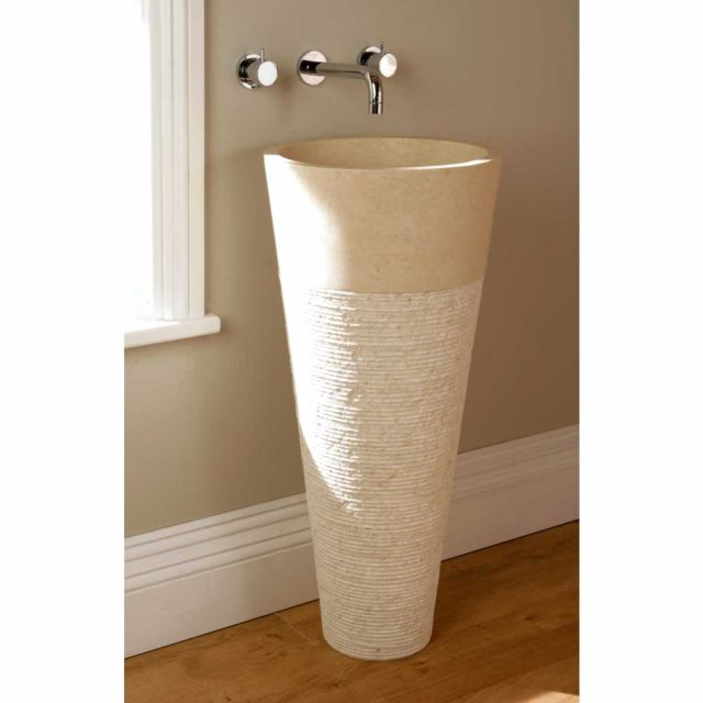 Finwood designs floor standing cone bathroom basin crema for Crema marfil bathroom designs