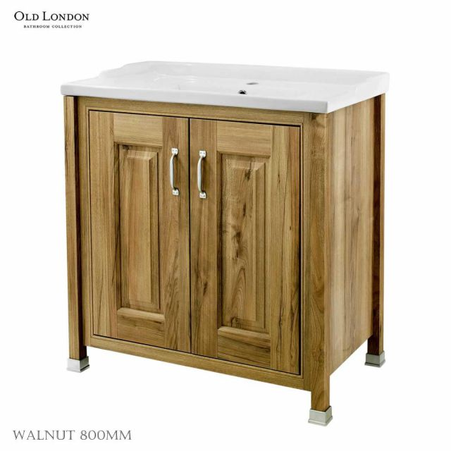 Old London 2 Door Bathroom Vanity Unit with Basin