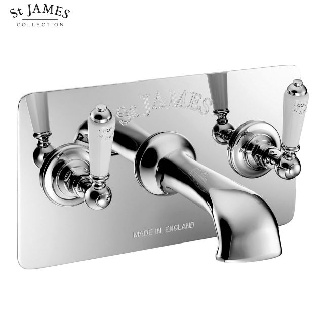 St James Wall Mounted 3 Hole Bath Filler Tap with Wall Plate