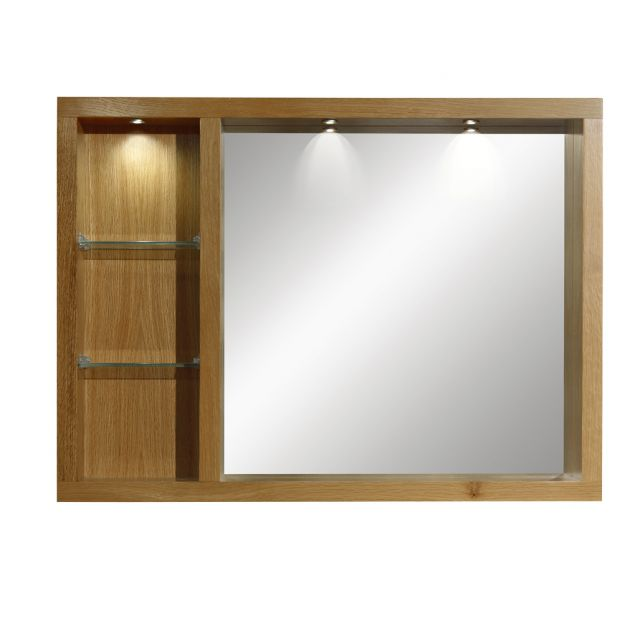 Imperial Large Box Mirror with Glass Shelves and Lights