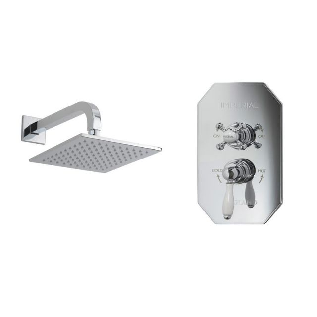 Imperial Quadrata Concealed Cambridge Single Outlet Shower Kit with Quadrata Rose Head