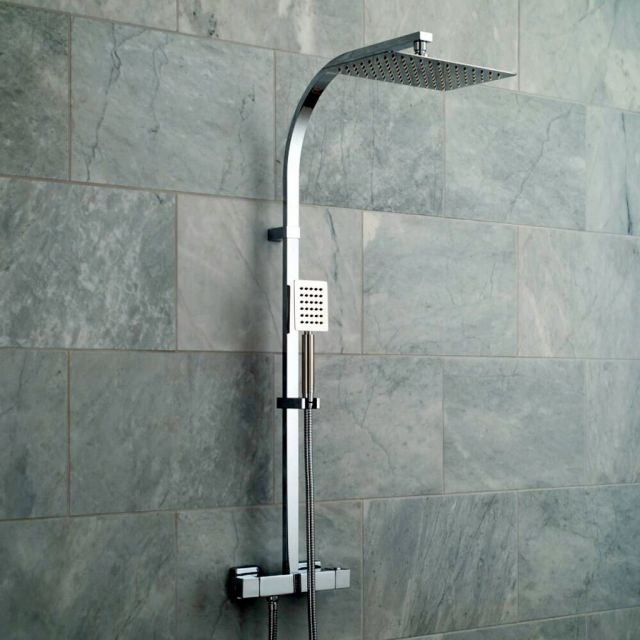 Vado Velo Aquablade Square Thermostatic Rigid Riser with Fixed Head and Handshower