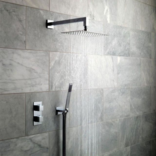 Vado Notion Concealed Thermostatic Shower Valve with Overhead and Mini Shower Kit