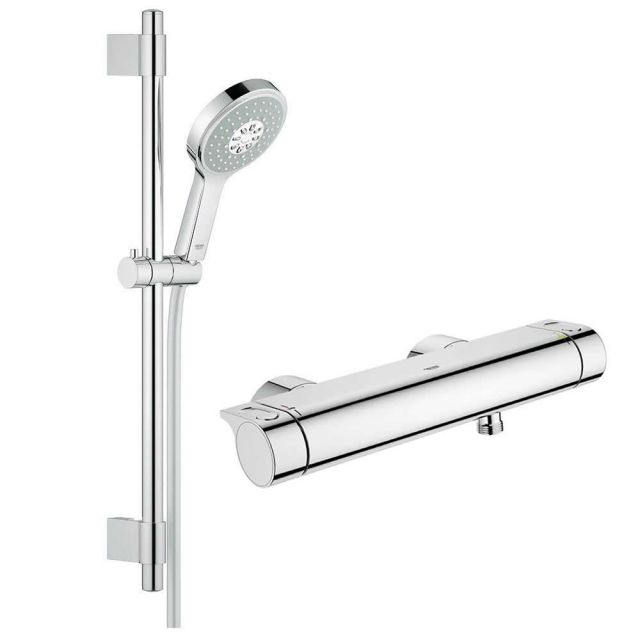 Grohe Grohtherm 2000 Thermostatic Shower Mixer with Power&Soul Cosmopolitan Shower Set - 34281001