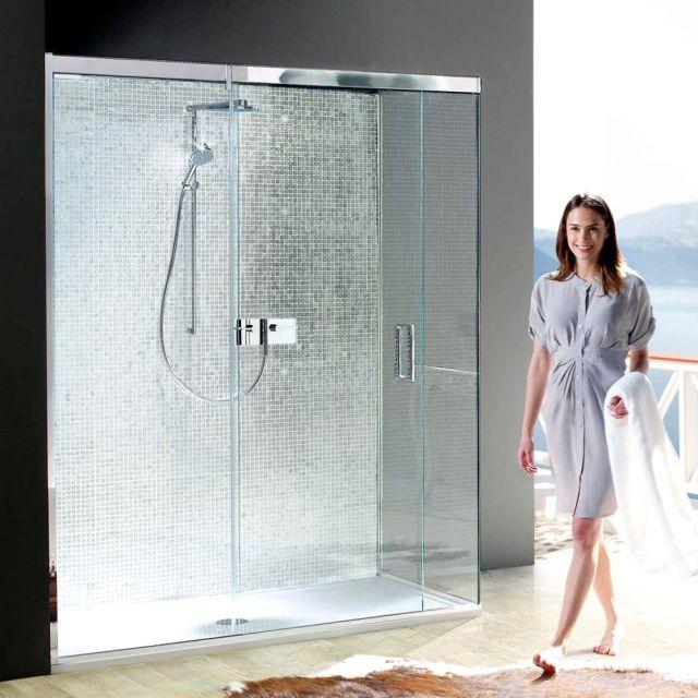 Matki EauZone Plus Sliding Shower Door with Side Panel for Corner