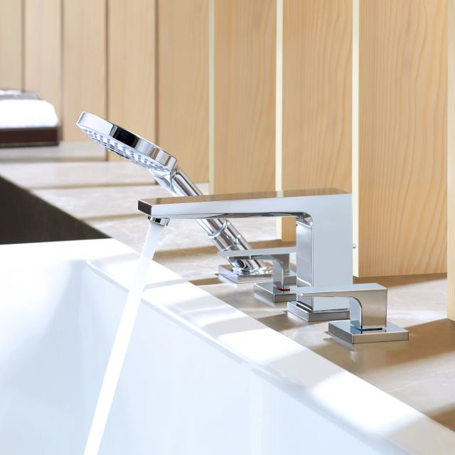 Hansgrohe Metropol 4 Hole Bath Mixer Tap with Shower Handset and Lever Handles