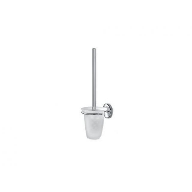 Inda Hotellerie Chrome Toilet Brush Holder with Glass Basin