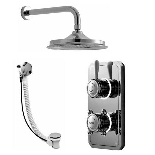 Bathroom Brands Classic 1910 Digital Mixer with Fixed Head and Overflow Bath Filler