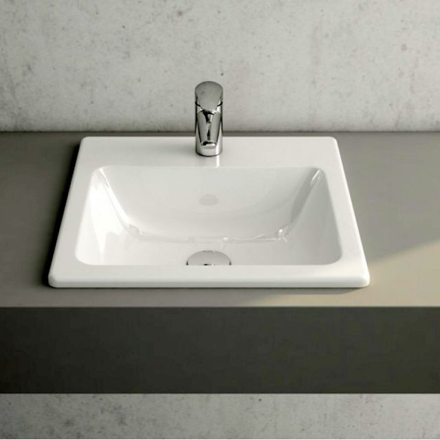 VitrA S20 Square Inset Basin with Tap Ledge