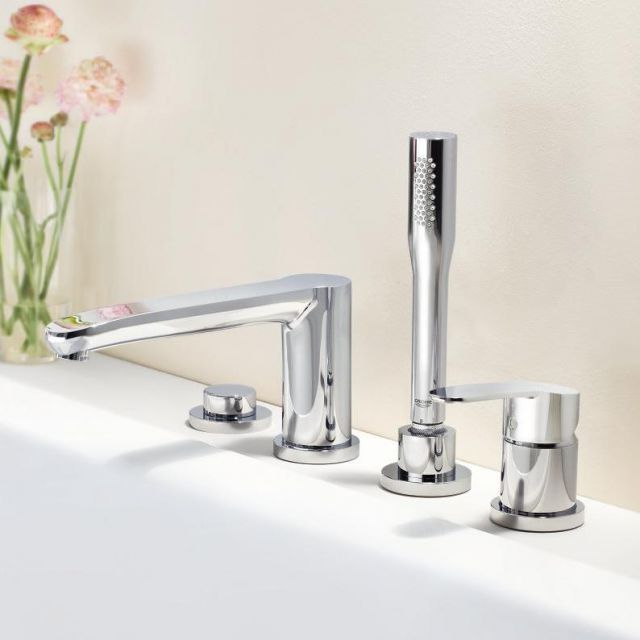 Grohe Eurostyle 4 Hole Single Lever Bath Mixer Tap with Shower Handset