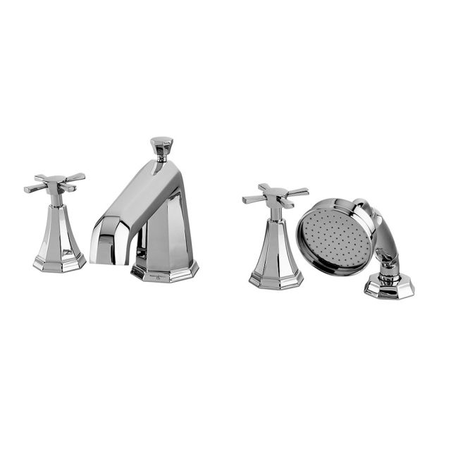 Perrin and Rowe Deco 4 Hole Deck Mounted Bath Shower Set