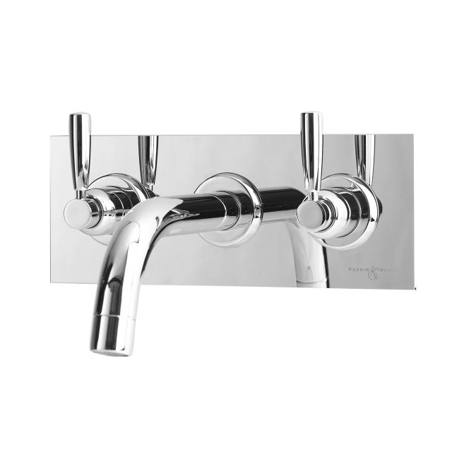 Perrin & Rowe Contemporary 3 Hole Wall Mounted Bath Set with Backplate - 3374CP