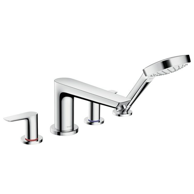 Hansgrohe Talis E 4-hole Rim-mounted Bath Mixer Tap with Shower Handset