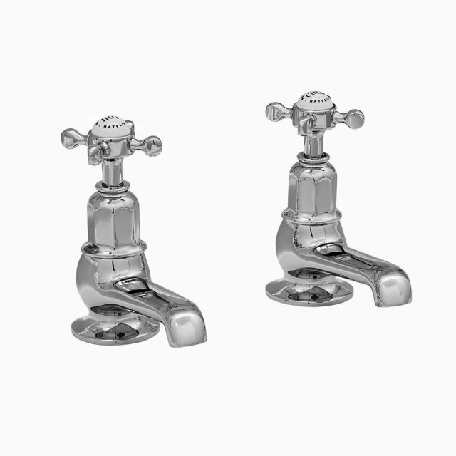 Perrin and Rowe Traditional Pair of Bath Pillar Taps
