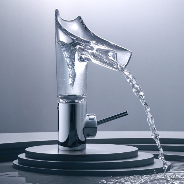 AXOR Starck V 140 Basin Mixer with Glass Spout