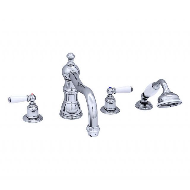 Perrin and Rowe Traditional Four Hole Bath Set with Country Spout