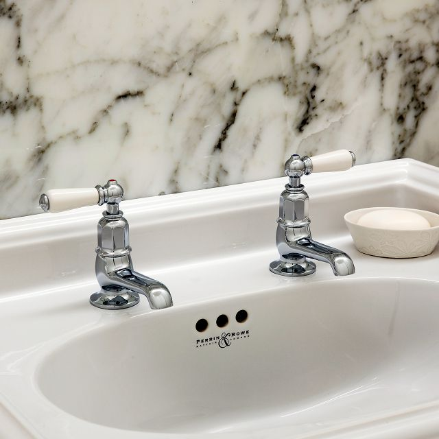 Perrin & Rowe Traditional Pair of Basin Pillar Taps