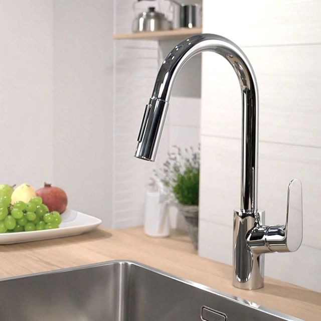 Hansgrohe Focus 240 Kitchen Mixer Tap, with Pull-out Spray