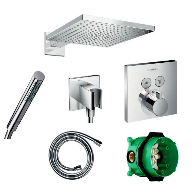 Hansgrohe Square Select Valve with Raindance 300 Overhead Shower and Baton Hand Shower Pack - 88101012