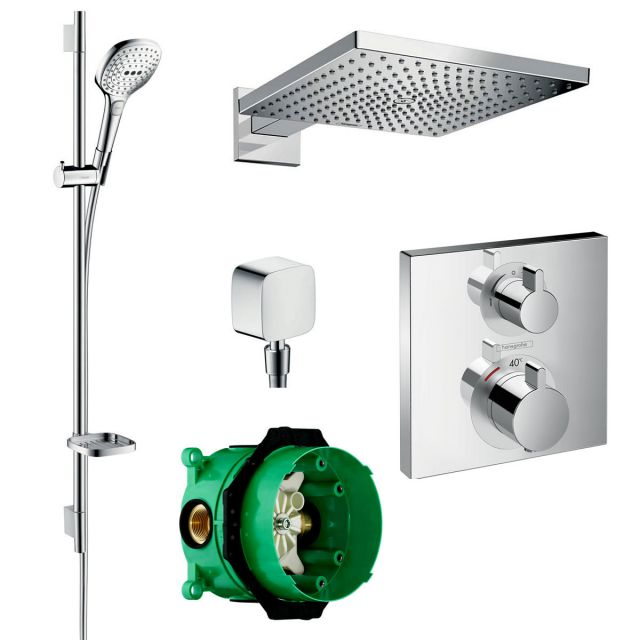 Hansgrohe Square Ecostat Valve with Raindance 300 Overhead Shower and Select 120 Rail Kit