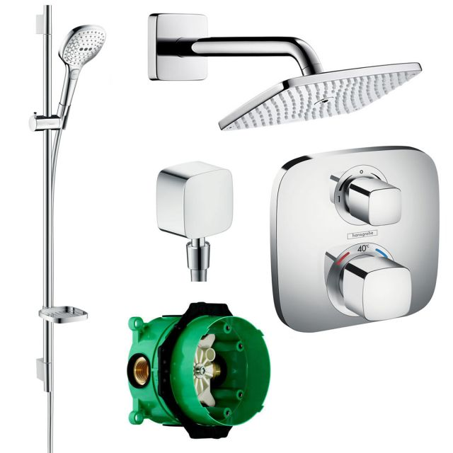 Hansgrohe Ecostat E Soft Cube Valve with Raindance 240 Overhead Shower and Select 120 Rail Kit