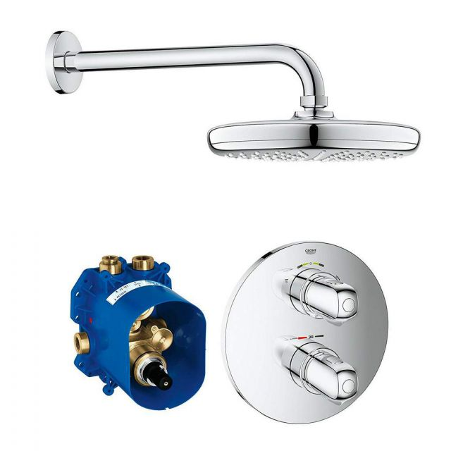 Grohe Grohtherm 1000 Perfect Shower Set with Tempesta 210 Overhead Shower