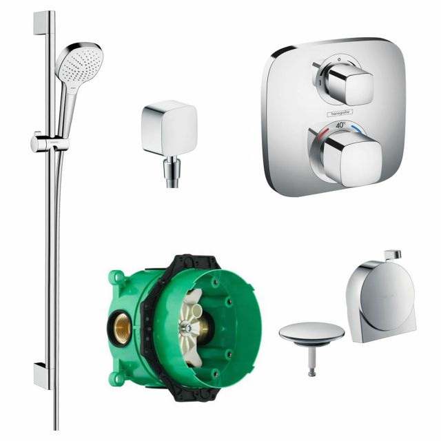 Hansgrohe Soft Cube Ecostat E Concealed Valve with Croma Select Rail Kit and Exafill Bath Filler