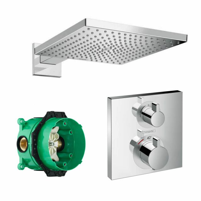 Hansgrohe Square Ecostat Concealed Valve with Raindance 300 Overhead Shower