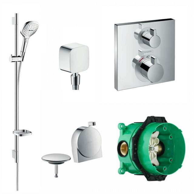 Hansgrohe Square Ecostat Concealed Valve with Raindance Select Rail Kit and Exafill Bath Filler