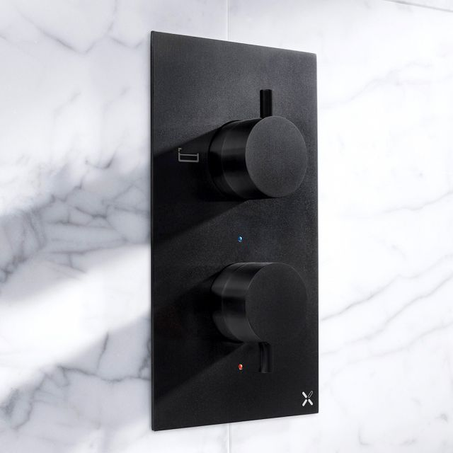 Crosswater MPRO Matt Black Bath & Shower Valve - PRO1500RM+