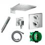 Hansgrohe Square Ecostat Valve with Raindance 300 Overhead Shower and Baton Hand shower